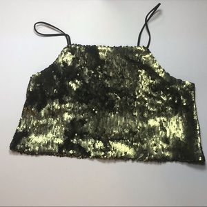 Kimchi Blue Crop Top Stretchy Green Sequins CUTE!!
